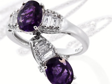 Lusaka Amethyst, White Topaz Ring and Pendant w/ Chain, 4.32 TCW, Size 9