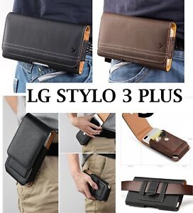 LG STYLO 3 / STYLO 3 PLUS - Leather Belt Clip Pouch Holster Carrying Phone Case
