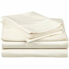 King Organic Cotton Sateen Natural Ivory Bed Sheet Set (Gots) Usa HypoAllergenic