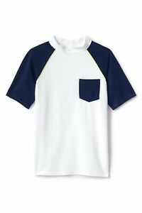 LANDS' END Boys Husky S(8H),  L(14-16H) Rashguard Swim Shirt NWT