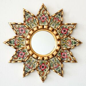 """Accent Beige Round Mirror 9.8"""" Wall art Decor, Painted glass Floral gold mirrors"""
