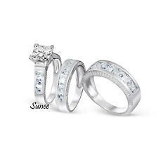 His & Hers 14k White Gold 925 Sterling Silver Wedding Engagement Ring Set
