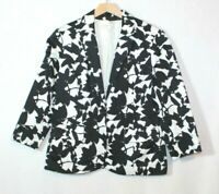 Coldwater Creek womens blazer size 10 black and white floral print button casual
