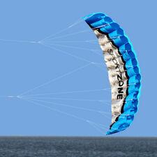 NEW 2.5m Dual Line Parachute Stunt Sport Beach Outdoor Toys BLUE Large Kite