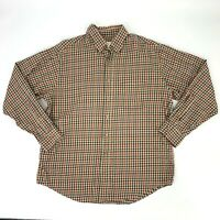 Viyella Button Down Shirt Size L Long Sleeve Cotton Wool Blend Gingham Plaid *
