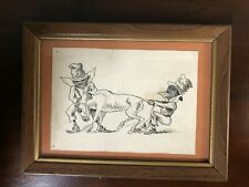 "Antique Black Americana Pen & Ink Drawing 5 3/4"" X 7 3/4"""