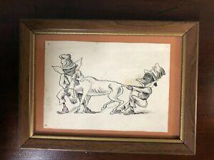 "Antique Black Americana Pen & Ink Drawing 5 3/4"" X 7 3/4"""