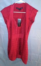 French Connection V-Neck Capped Sleeve Bandage Mini Dress Red sz 10 NWT