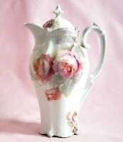 "Early RS Prussia 10"" Chocolate Pot With Pink Roses - Red Mark"