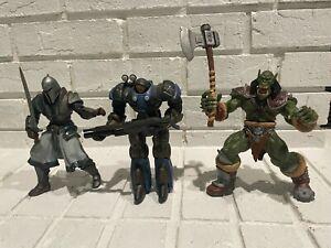 (3) Warcraft / Starcraft Blizzard Action Figures w/ Weapons Orc, Footman, Marine