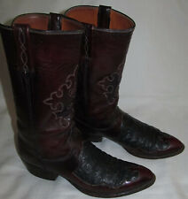 Lucchese Vintage Ostrich Cut Out Burgundy Leather Cowboy Boots Mens Size 11.5 AA