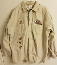Walt Disney Long Sleeve Button Front Shirt Mickey Mouse Playful Pluto Size Large
