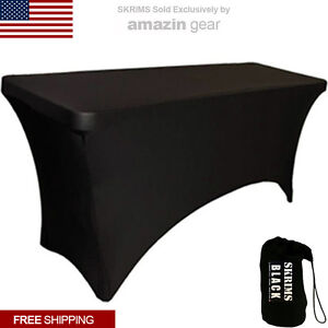 PRO DJ Event Table Scrim, 4' BLACK 4-Way Stretch Tablecloth, Cable Inserts + Bag