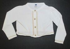 TODDLER GIRLS JANIE AND JACK BATEAU BEST WHITE & GOLD CARDIGAN SWEATER SIZE 2T