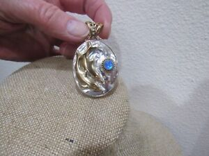 SAJEN DOLPHIN BRONZE SILVER MOON STONE OVAL PENDANT FROM INDIA