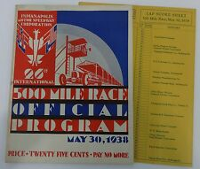 1938 Indianapolis 500 Official Program Floyd Roberts With Lap Score Sheet