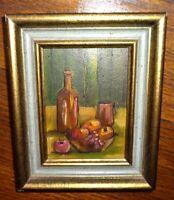 Vintage Still Life Fruit & Bottle Miniature Oil Painting