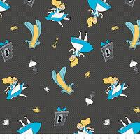 "Disney Alice Falling into Wonderland Carbon 100% cotton Fabric Remnant 30"""