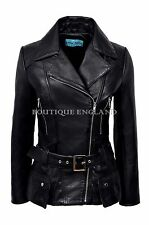 Ladies Biker Leather Jacket Black | Casual FASHION Hip Length REAL NAPA 2812