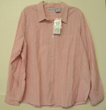 NEW size XLG pink white Blair striped SHIRT cotton long sleeves XL