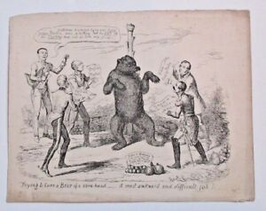 "1830's Cruikshank Etching ""Trying To Cure Bear Of A Sore Head"" Art Print Etching"