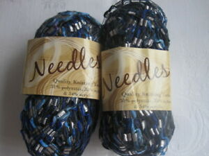 2 x 50g Balls of Needles Ladder Yarn - Black/Blues/White