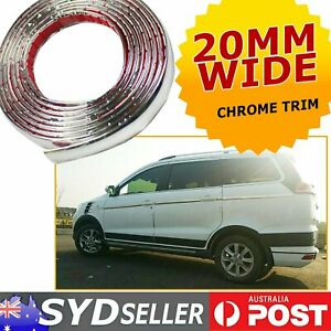 6M x 20mm Wide Auto Side Chrome Styling Mouldings Trim Covering Adhesive Strip
