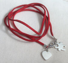 Red Autism Awareness Wrap Wristband with Heart and Puzzle charms, Ladies Gift