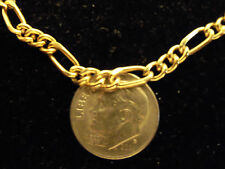 bling gold Plated figaro chain necklace jewelry thin pimp thug hip hop dookie gp