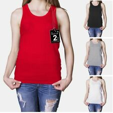 Women's Fitted Ribbed Vest Top Ladies 14-28 UK Sizes 4 Colours 50/50 Poly-cotton