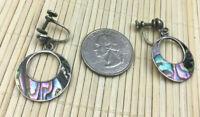 Vintage Sterling Earrings Mexico 925 Silver Abalone Inlay Hoop Screwback