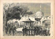 Sultan Abdul-Hamid II Sabre d'Othman la Mosquée d'Eyoub à Istanbul GRAVURE 1876