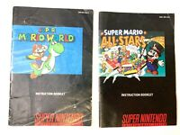 Super Mario World & All Stars Lot Super Nintendo SNES Instruction Manual Only