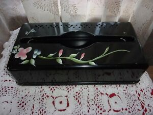 vntg 1950's Detecto black metal tissue holder Tole hand painted flowers VGUC