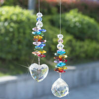 Rainbow Maker Colorful Crystal Beads Hanging Suncatcher Prism Decor Ornament 2pc