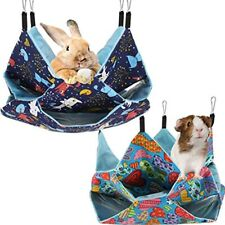 2 Pieces Small Animal Hanging Hammock Pets Bed 3 Tier Sack Cage Accessories Rat