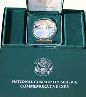 1996 PROOF National Community Service 90% Silver Dollar US Mint Coin Box and COA