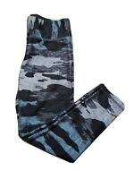 Terez Gray Blue Camo Leggings Yoga Pants Capri Crop Womens Small Gym Run