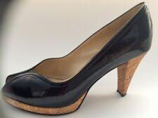 Black Patent Leather Peter Kaiser Emilia Peep Toe High Heel Pumps.NWB.Size  7M