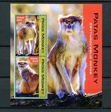 Ghana 2016 MNH Patas Monkey 2v S/S Monkeys Primates Wild Animals Stamps