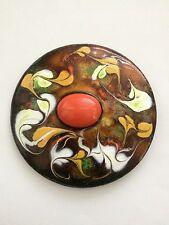 Vintage Enamel Over Copper Artist Created Modernist Belt Buckle