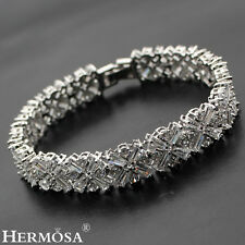 XMAS SALE .925 Sterling Silver HOT WOMEN GIFTS White Topaz Bracelets 7""