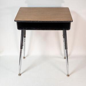 Vintage Black Wood Grain Metal Mid Century School Desk Adjustable Height MCM