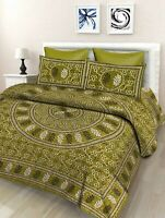 Indian Floral 100% Cotton Double Bed Sheet With 2 Pillow Covers, Green