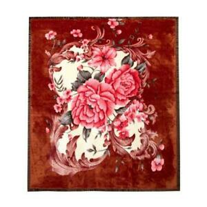 Bronze super soft fleece throw bed sofa cover Extra large rose floral flower NEW