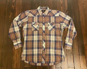 Vintage Wrangler Men's Shirt Large Tall Denim Pearl Snap Purple Plaid Long