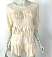 Sundance Solid Peach Short Sleeve Ruched Tunic Top Cotton Blouse Women Medium