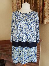 LADIES  BLUE CREAM LARGE FLOWER TUNIC  FROM  NEXT SIZE 20 - HOLIDAY