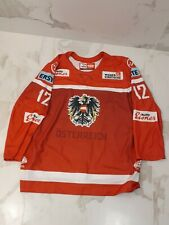 IIHF AUSTRIA GAME WORN USED RED JERSEY #12 M.RAFFL WASHINGTON CAPITALS