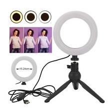 6'' Ring Light with Tripod Stand Phone Holder Desk Makeup Video Selfie Live UK
